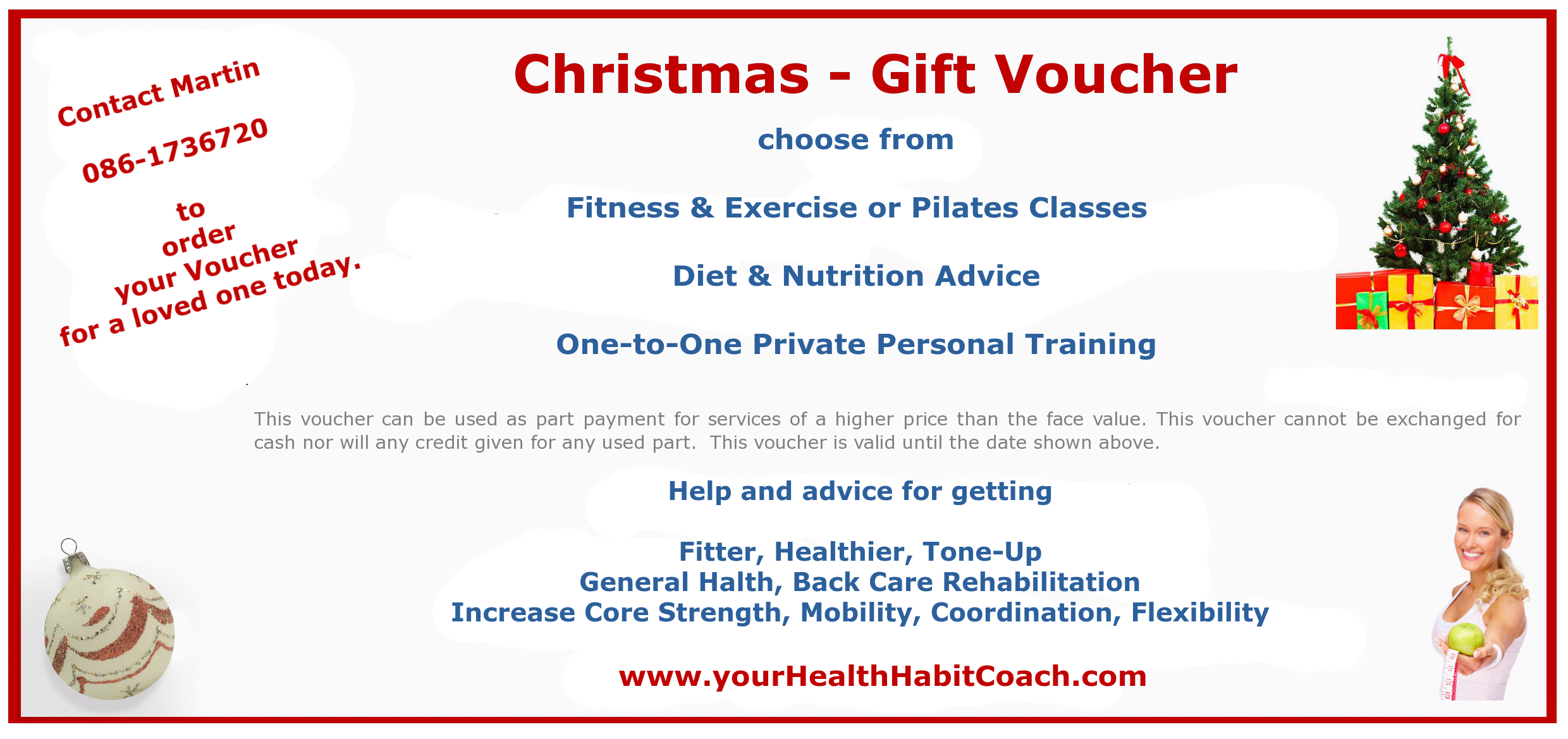 2016 Pilates Diet Nutrition Fitness Exercise Christmas Gift Voucher from Martin Luschin YourHealthHabitCoach in South Dublin Foxrock Sandyford Leoaprdstown Dundrum Rathfarnham Ballinteer Cabtineely Stillorgan Kilternan