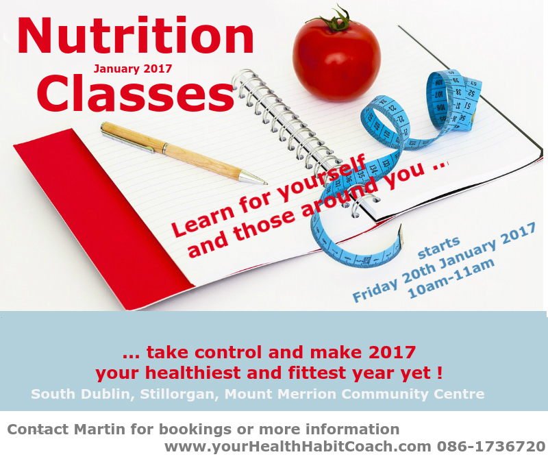 Nutrition Diet Food Health Classes in South Dublin Stillorgan close to Goatstown Blackrock Foxrock Mount Merrion Ucd