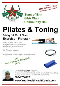 Glencullen GAA Star of Erin - The Dublin Mountain Community Centre - Pilates Toning Weight-Loss Fitness classes 2018 February in South Dublin D18