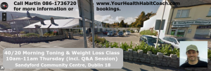 April 2017 Sandyford Community Centre Toning Weight Loss Class Leopardstown near Belarmine Stepaside Kilternan Foxrock Cabinteely Glencullen