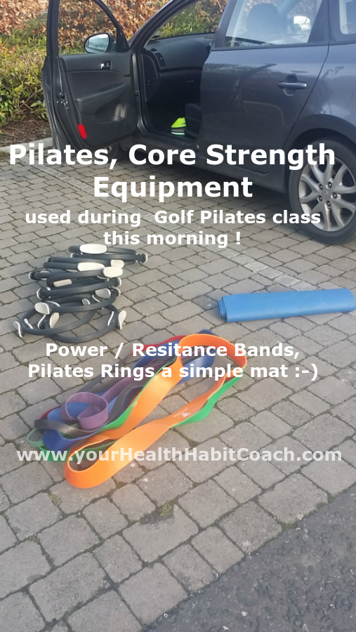 Golf Pilates Class equipment resistance Power bands Pilates Rings in South Dublin ireland Dublin 18 Enniskerry Leopardstown Sandyford